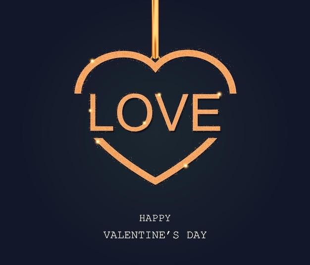Amour doré de la saint-valentin sur le coeur