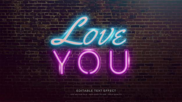 Amour effet de texte modifiable de typographie néon