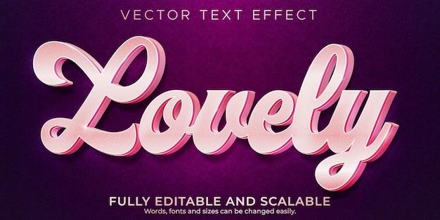 Amour effet de texte rose, lumière modifiable et style de texte doux