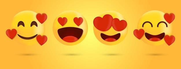 Amour émoticône et emoji avec jeu de visages de vecteur de coeur - sourire visage emoji avec des yeux de coeur