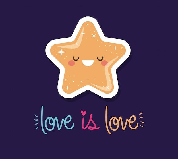 L'amour est l'amour et l'étoile kawaii