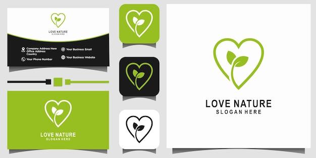 Amour feuille nature vert logo design vecteur modèle fond carte de visite