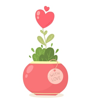 Amour fleur coeur rouge arbre poussant dans un pot valentines day design vector illustration