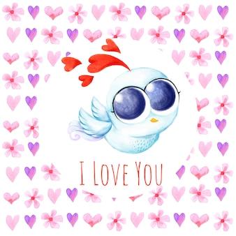 Amour fond oiseau mignon