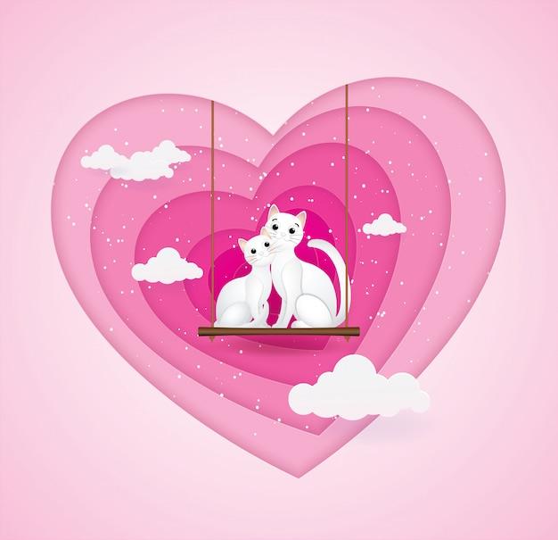 Amour fond de saint valentin chat.