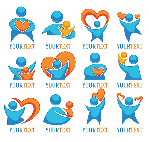 Amour gens famille et coeurs grande collection de logo