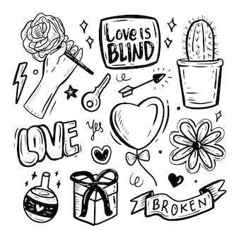 Amour icône autocollant main dessin doodle collection ensemble