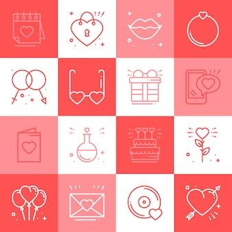 Amour icônes définies.