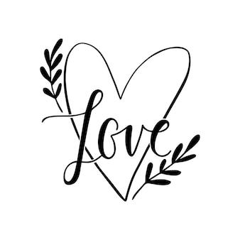 Amour. illustration vintage dessinée à la main avec lettrage à la main. cette illustration peut être utilisée comme carte de voeux pour la saint-valentin ou un mariage.
