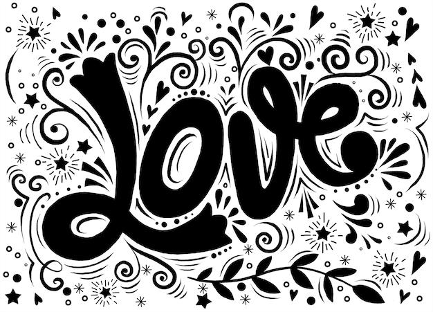 Amour, imprimé vintage dessinés à la main