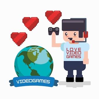 Amour jeux en ligne joueur casque gamepad coeurs monde