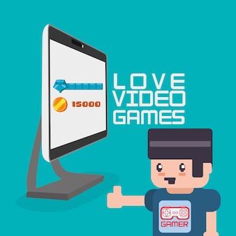 Amour jeux vidéo avatar gamer computer
