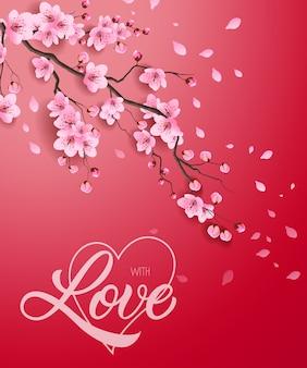 Avec amour lettrage et blooming twig