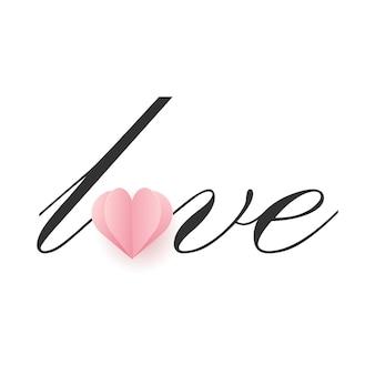 Amour lettrage avec coeur en papier rose. vecteur.