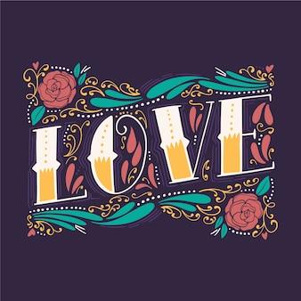 Amour lettrage dans un style vintage avec des fleurs