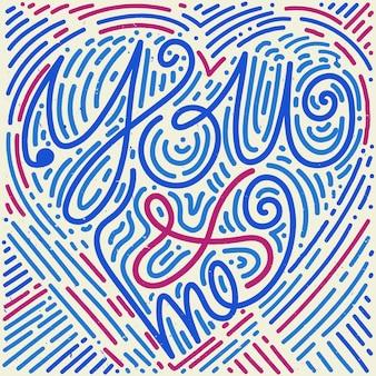 Amour lettrage style memphis dessiné à la main