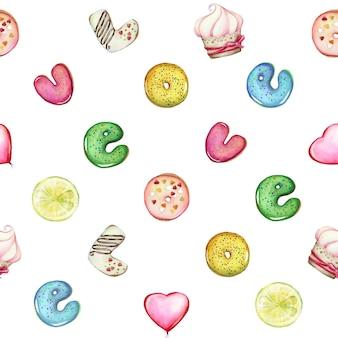 L'amour, des lettres sous forme de beignets, de bonbons et de beignets. modèle sans couture aquarelle.