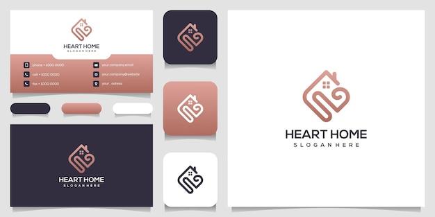 Amour maison logo coeur et combinaison d'icônes maison et carte de visite