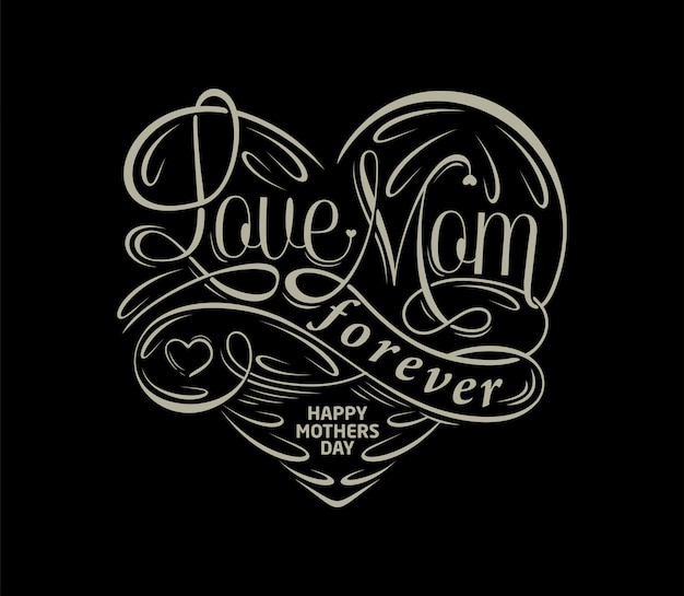 Amour maman pour toujours typographie texte vintage luxe