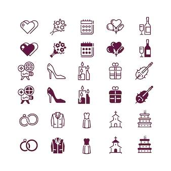 Amour et mariage icônes isolées - icône d'amour linéaire et silhouette