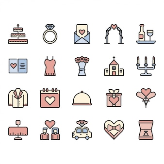 Amour et mariage liés icon set