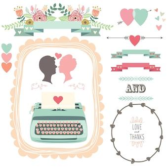 Amour et merci machine à écrire vintage