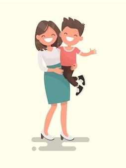L'amour d'une mère. illustration de maman et fils