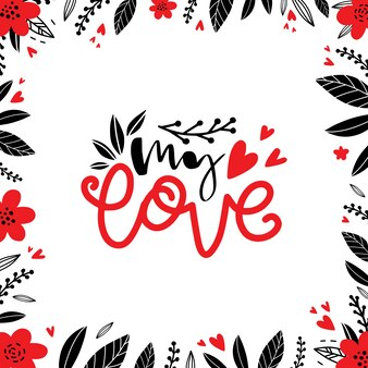 Amour messages dessinés à la main avec doodle dans un style rustique