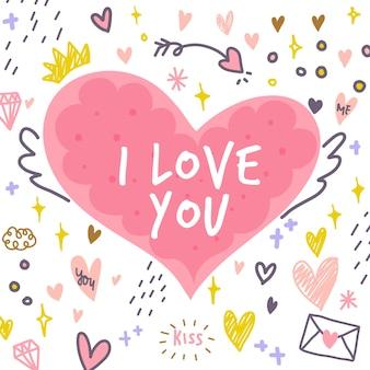 Amour mignon dessiné à la main avec fond abstrait