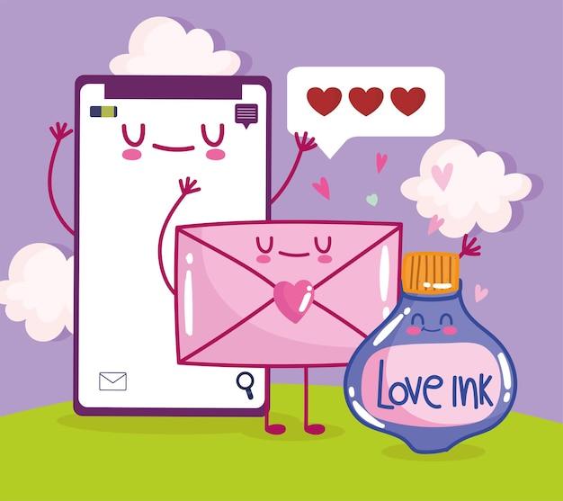 Amour mignon d'enveloppe de téléphone