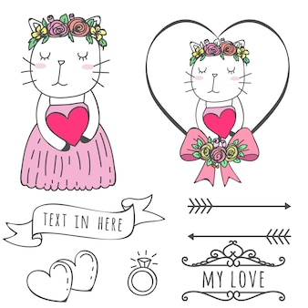 Amour mignon mariage dessiné à la main