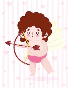 Amour mignon petit cupidon avec arc de flèche et fond de dessin animé romantique de coeurs