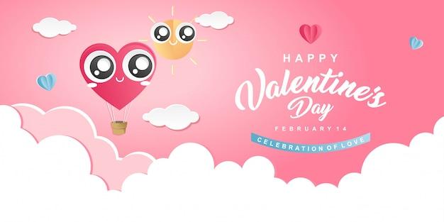 Amour montgolfière illustration happy valentines day