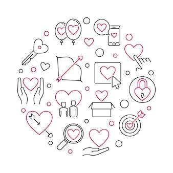 Amour obsessionnel rond illustration dans le style de contour