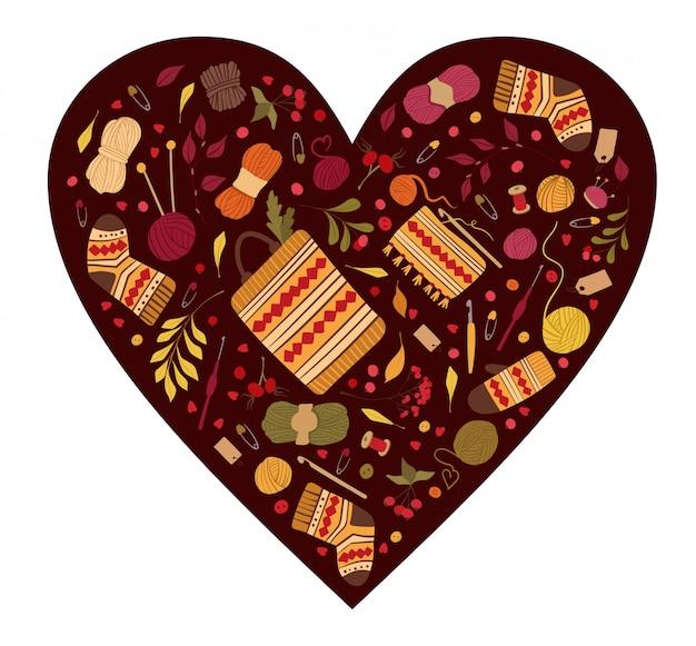 Amour pour le cadre en forme de coeur vecteur plat tricot.