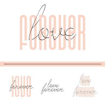 Amour pour toujours lettrage carte de citation