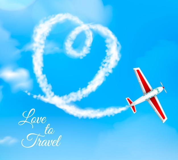 L'amour pour voyager en forme de coeur avion condensation trail sur ciel bleu