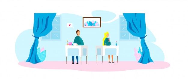 L'amour à première vue dans un restaurant romantique
