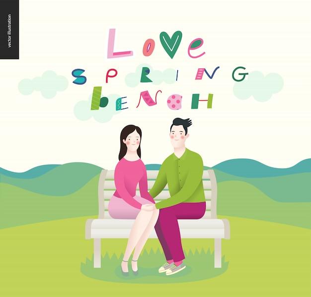 Amour, printemps, banc. un couple amoureux