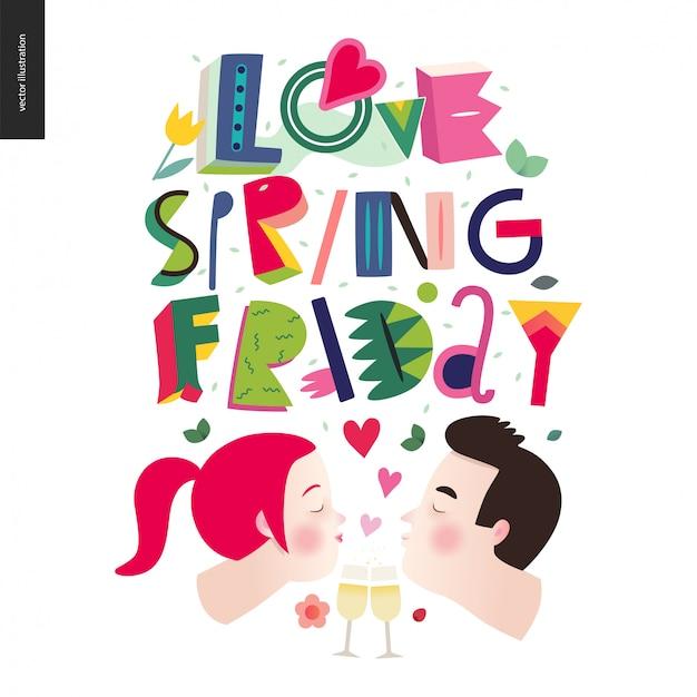 Amour printemps composition de lettrage vendredi