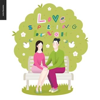Amour, printemps, lettrage au banc et un couple amoureux