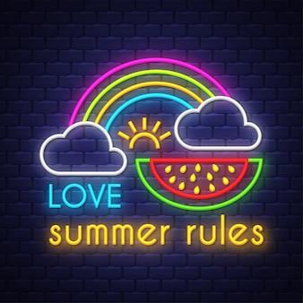 Amour règles d'été. inscription au néon