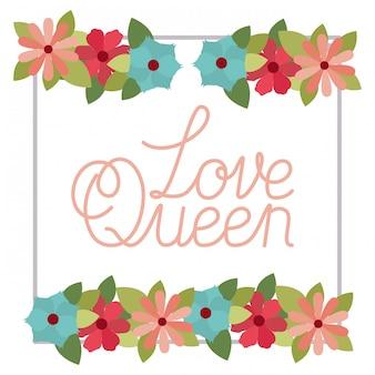 Amour reine étiquette avec icône isolé cadre fleur