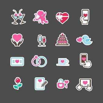 Amour de saint-valentin et jeu d'icônes de décoration de carte de mariage