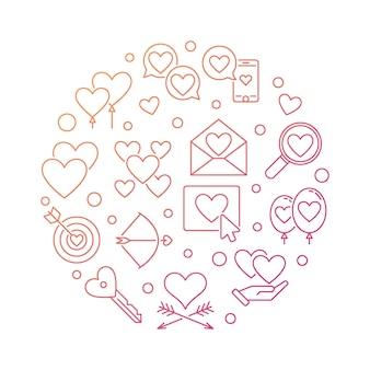 Amour et sentiments vectoriels rond illustration de contour coloré