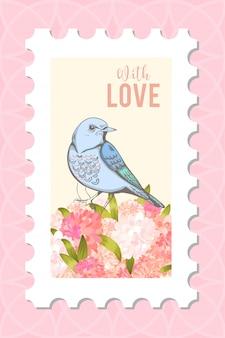 Amour timbre postal avec oiseau.