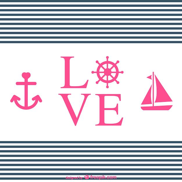 Amour typographie conception nautique