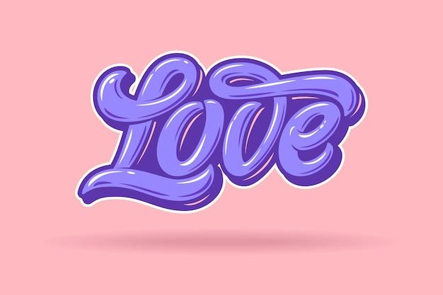 Amour typographie. fond rose et lettres violettes aux couleurs pastel. utilisé pour les invitations au mariage, cartes de voeux, bannières, flyers. illustration vectorielle.