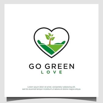 L'amour va vecteur de conception de logo vert