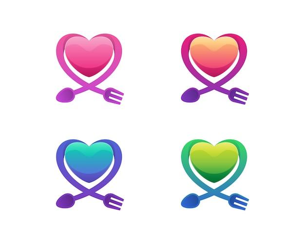 Amour avec les variations de logo cuillère et fourchette